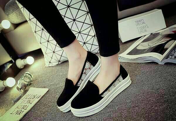 """Sepatu Teplek Wanita """"Flat Shoes Jaring"""" Hitam Murah & Keren"""