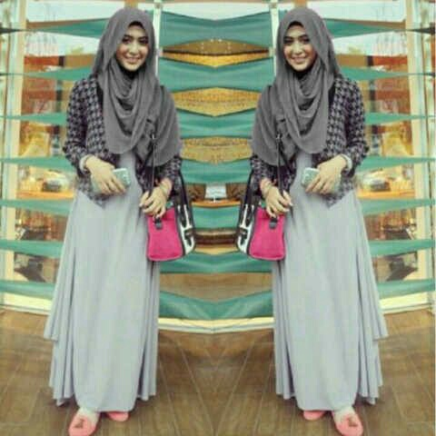 Setelan Maxi Long Dress Cardigan & Jilbab Pashmina Hijab Murah
