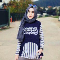 Baju Atasan Wanita 2 in 1 dengan Pashmina Cantik & Murah