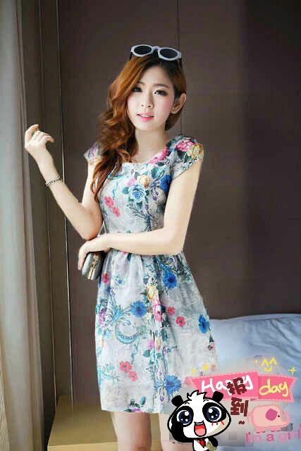 Baju Dress Lengan Pendek Motif Bunga Model Terbaru & Cantik