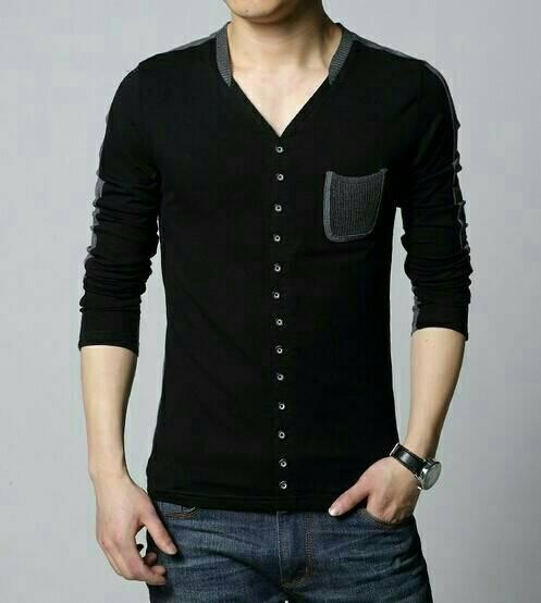 Baju Kaos Lengan Panjang Pria Terbaru Kerah V