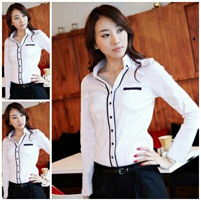 Baju Kemeja (Hem Kerja) Wanita Lengan Panjang Warna Putih