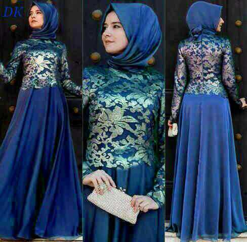 Baju Long Dress Brukat Setelan Hijab Cantik & Murah
