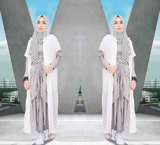 Baju Muslim Wanita Setelan Maxy Long Cardi & Pashmina Cantik