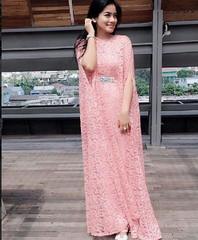 Long Dress Terbaru Kaftan Cape Brukat Cantik