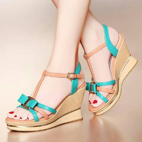 Sandal Wanita Wedges Ribbon Cantik Terbaru & Murah