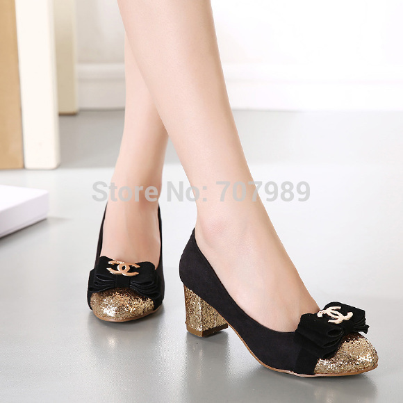 Sepatu Pantofel Wanita High Heels Chanel Hitam Glitter Murah & Cantik