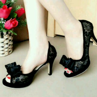 Sepatu Sandal Wanita High Heels Brukat Jaring Hitam Murah & Cantik