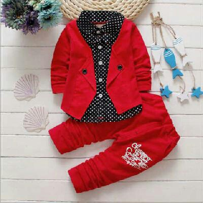 Setelan Baju Anak Laki-laki Keren Warna Merah