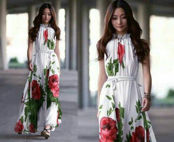 Long Dress Terbaru Lengan Buntung Warna Putih Motif Bunga Cantik