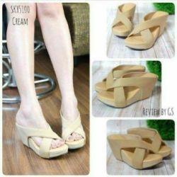 Sandal Wanita Wedges Silang Cream Cantik & Murah