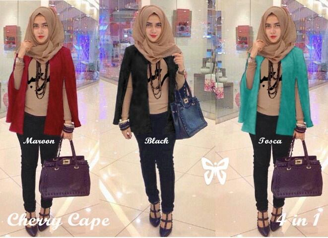 Setelan Hijab Casual Model Terbaru 4 in 1 Cape Modern