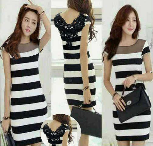 Baju Dress Cantik Corak Motif Salur Belang Model Terbaru