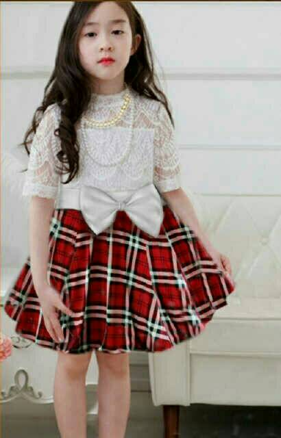 Baju Dress Pendek Anak Perempuan Warna Merah Cantik