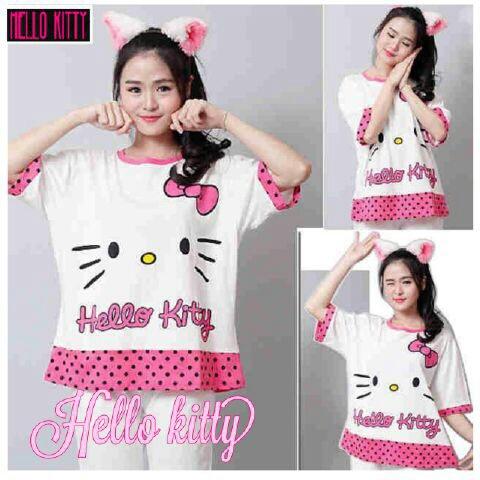 Baju Kaos Wanita Modern Gambar Hello Kitty Cantik