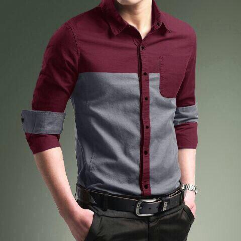 Baju Kemeja Pria Lengan Panjang Model Terbaru Kombinasi