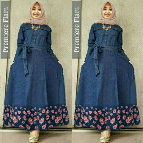 Baju Muslim Wanita Long Dress Gamis Jeans Modern Cantik