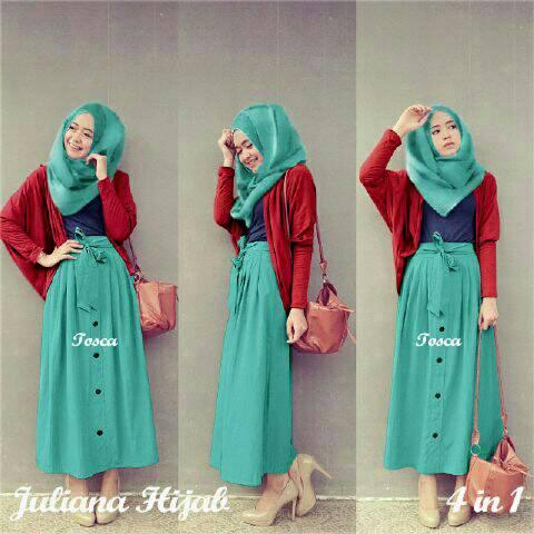 Baju Setelan Hijab 3 in 1 Wanita Dewasa Cantik Model Terbaru