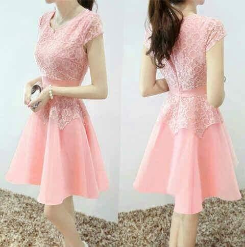 Dress Pendek Wanita Brukat Pink Cantik & Modis