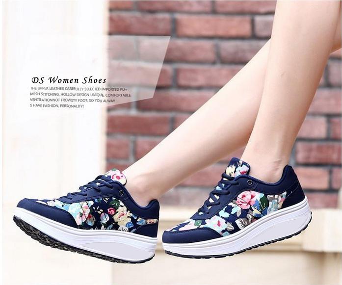 Sepatu Kets Wanita Motif Bunga Model Terbaru & Cantik