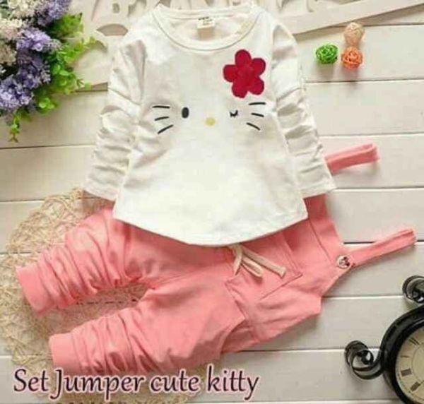 Setelan Jumpsuit Baju Anak Perempuan Hello Kitty Lucu