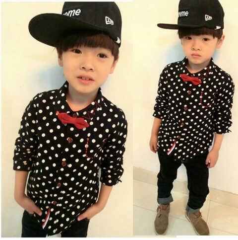 Baju Anak Laki-laki Keren Kemeja Motif Polkadot Model Terbaru