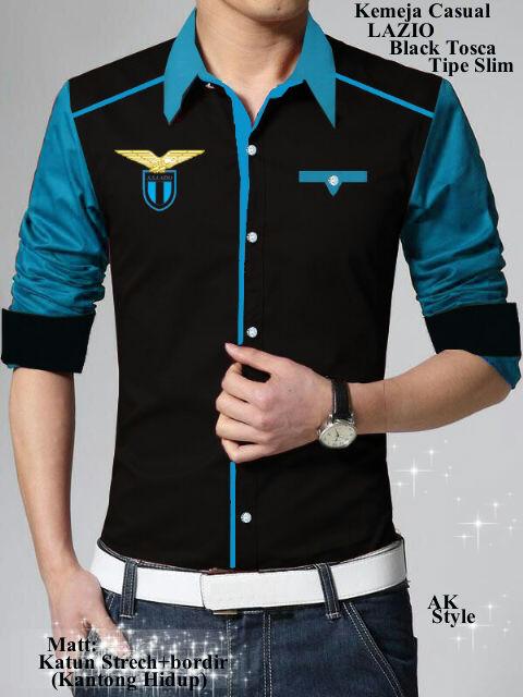Baju Kemeja Pria Lengan Panjang Keren Model Terbaru Kombinasi