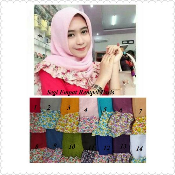 Model Jilbab/Hijab Segi Empat Rempel Motif Bunga Terbaru