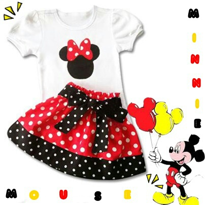 Setelan Baju Anak Perempuan Gambar Mickey Mouse Lucu