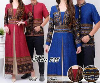 Baju Couple Batik Muslim Panjang Unik Model Terbaru
