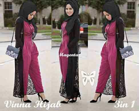 Baju Jumpsuit Panjang Setelan Hijab Modern Model Terbaru & Murah