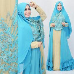 Model Gamis Terbaru Warna Biru Cantik Modis & Murah