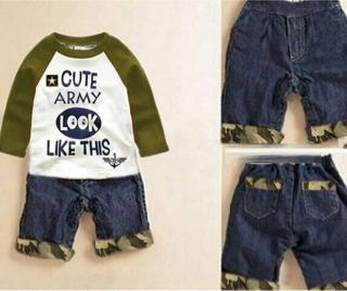 Setelan Baju Anak Laki-laki Motif Army Model Terbaru