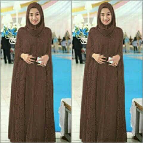 Setelan Hijab Baju Gamis Kaftan Brukat Muslim Model Terbaru