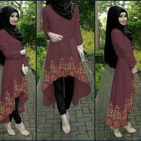 Setelan Hijab Baju dan Celana 3 in 1 Modern Model Terbaru