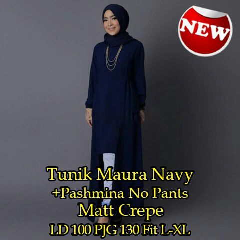 Baju Atasan Hijab Modis Tunik Navy & Pashmina Model Terbaru