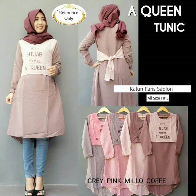 """Baju Atasan Panjang Fashion Hijab Terbaru """"Queen Tunik"""" Modis"""