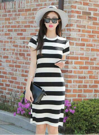 Baju Dress Pendek Berlengan Murah dan Cantik Motif Belang