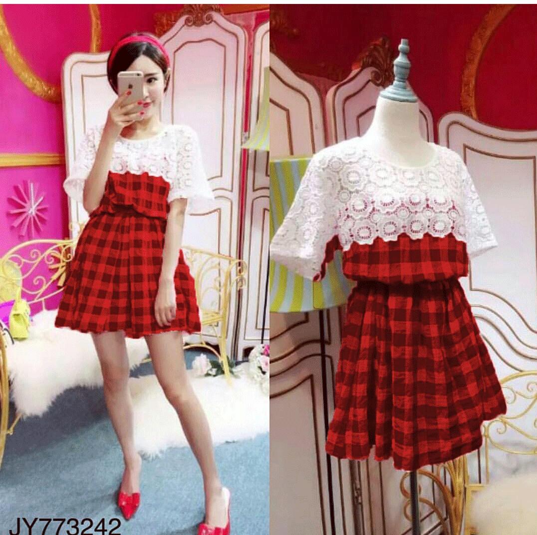 Baju Dress Pendek Warna Merah Cantik dan Modis Ala Korea