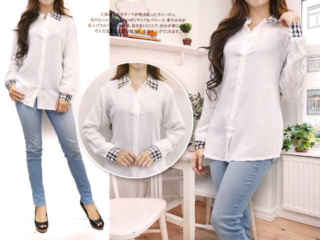 Baju Hem Cewek Lengan Panjang Warna Putih Cantik Model Terbaru