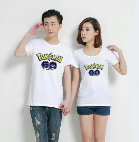 Baju Kaos Couple Pokemon Go Lengan Pendek Warna Putih Terbaru