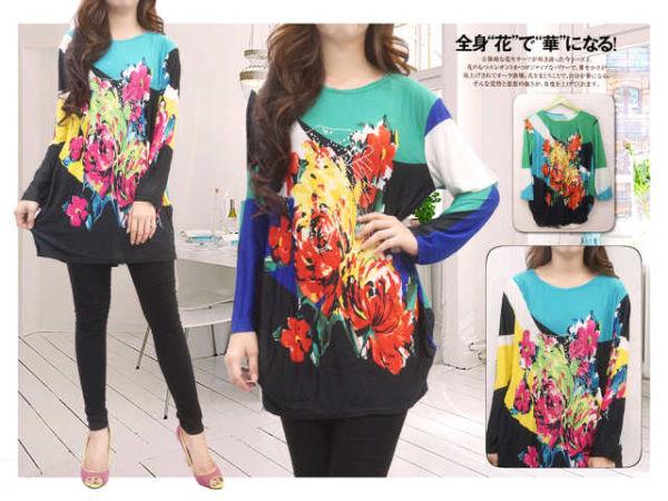 Baju Kaos Wanita Lengan Panjang Motif Bunga Ukuran XL Murah