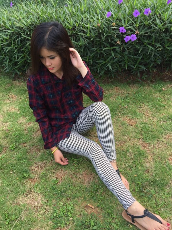 Celana Jegging Pants Panjang Motif Salur Belang Kecil Modern Terbaru