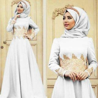 Long Dress Hijab Modern Gamis Cantik Putih Mewah Model Terbaru