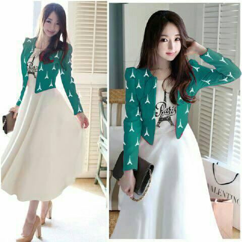 Setelan Baju Dress & Cardigan Cantik Murah Desain Model Terbaru