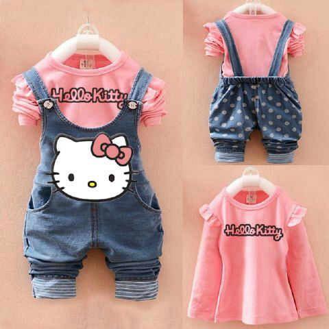 Setelan Baju Jumpsuit Anak Perempuan Gambar Hello Kitty Cantik