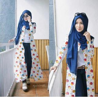 Setelan Hijab Long Cardigan 4 in 1 Baju Muslim Wanita Modern Modis