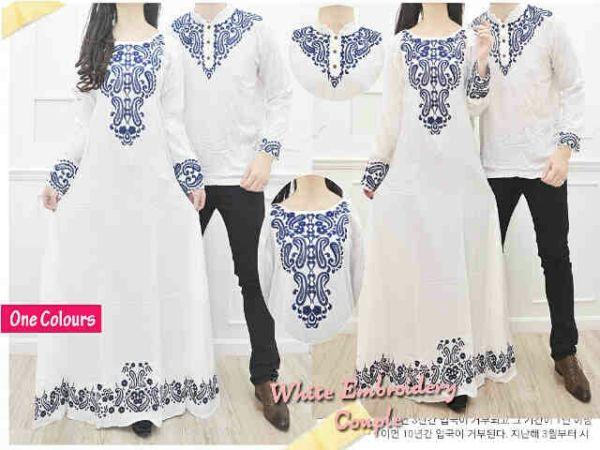 Baju Couple Long Dress Muslim Warna Putih Model Terbaru