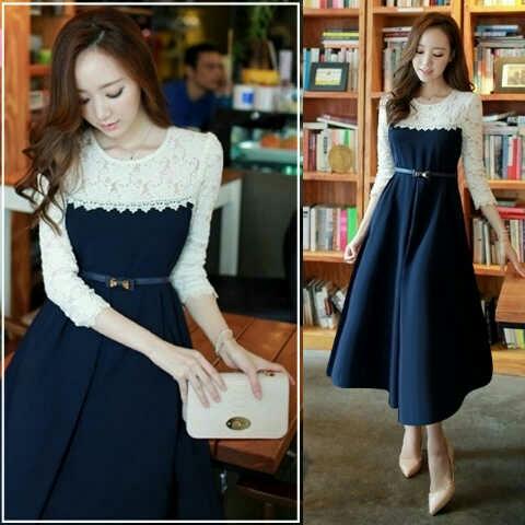Baju Dress Murah dan Cantik Model Terbaru Lengan Panjang Modern
