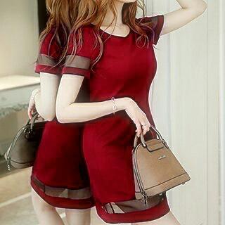 Baju Dress Pendek Dewasa Warna Merah Unik Murah dan Cantik